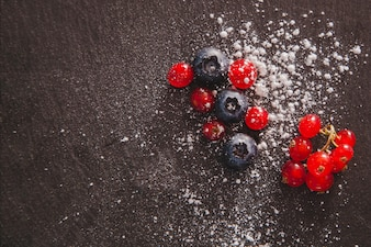 Decorative fresh fruits with copy space