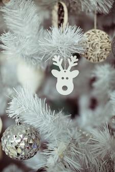 Decorative reindeer head on a christmas tree