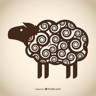 Decorative sheep drawing