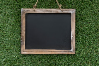 Decorative slate on grass