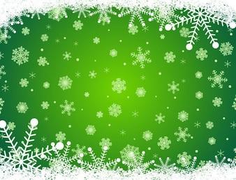 Decorative snowflake green background
