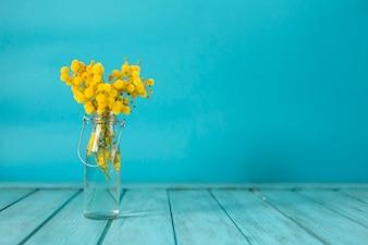 Decorative vase with blue background