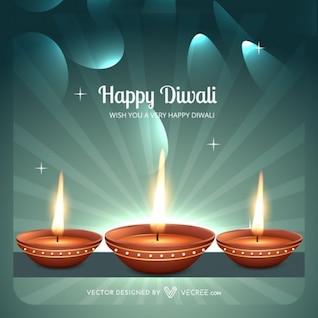 Deepawali Diya flames greeting card
