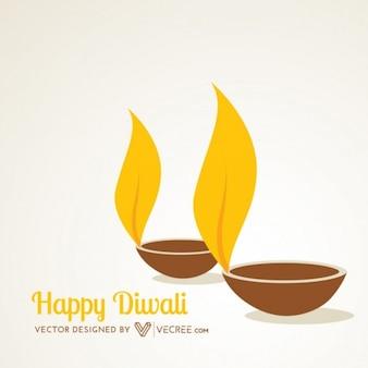 Deepawali Diya flames in yellow color
