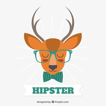 Deer dressed up in hipster style vector