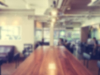 Defocused wooden conference table
