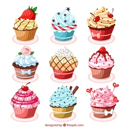 Delicious cupcakes illustrations