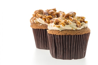 Delicious cupcakes with peanuts and caramel