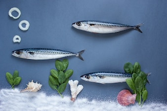 Delicious fresh fish on blue background. Fish with aromatic herbs, onion, fish in water swimming concept