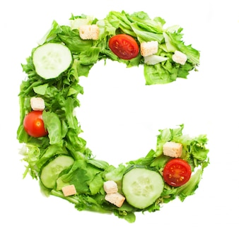 Delicious letter c with tomatoes