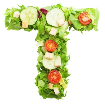 Delicious letter t made with fresh lettuce