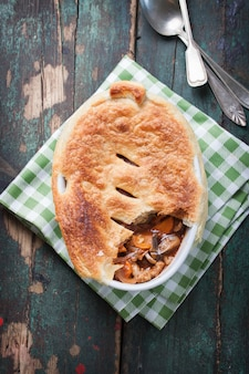 Delicious stew with puff pastry