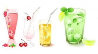 Delicious summer drinks with fruit