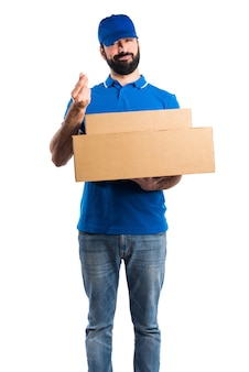 Delivery man doing a money gesture