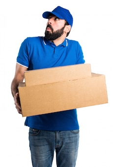 Delivery man making unimportant gesture