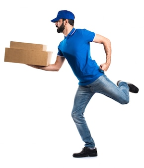 Delivery man running fast