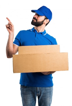 Delivery man thinking