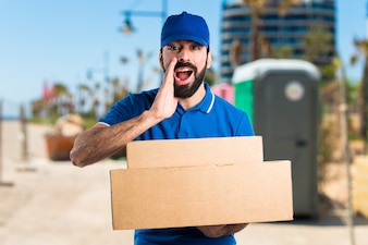 Delivery uniform boy work courier