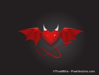 demon heart with wings and horns