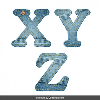 Denim alphabet X Y Z