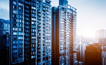 Dense urban skyscrapers in Hongkong, China