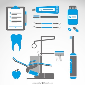 Dentist symbols medical set