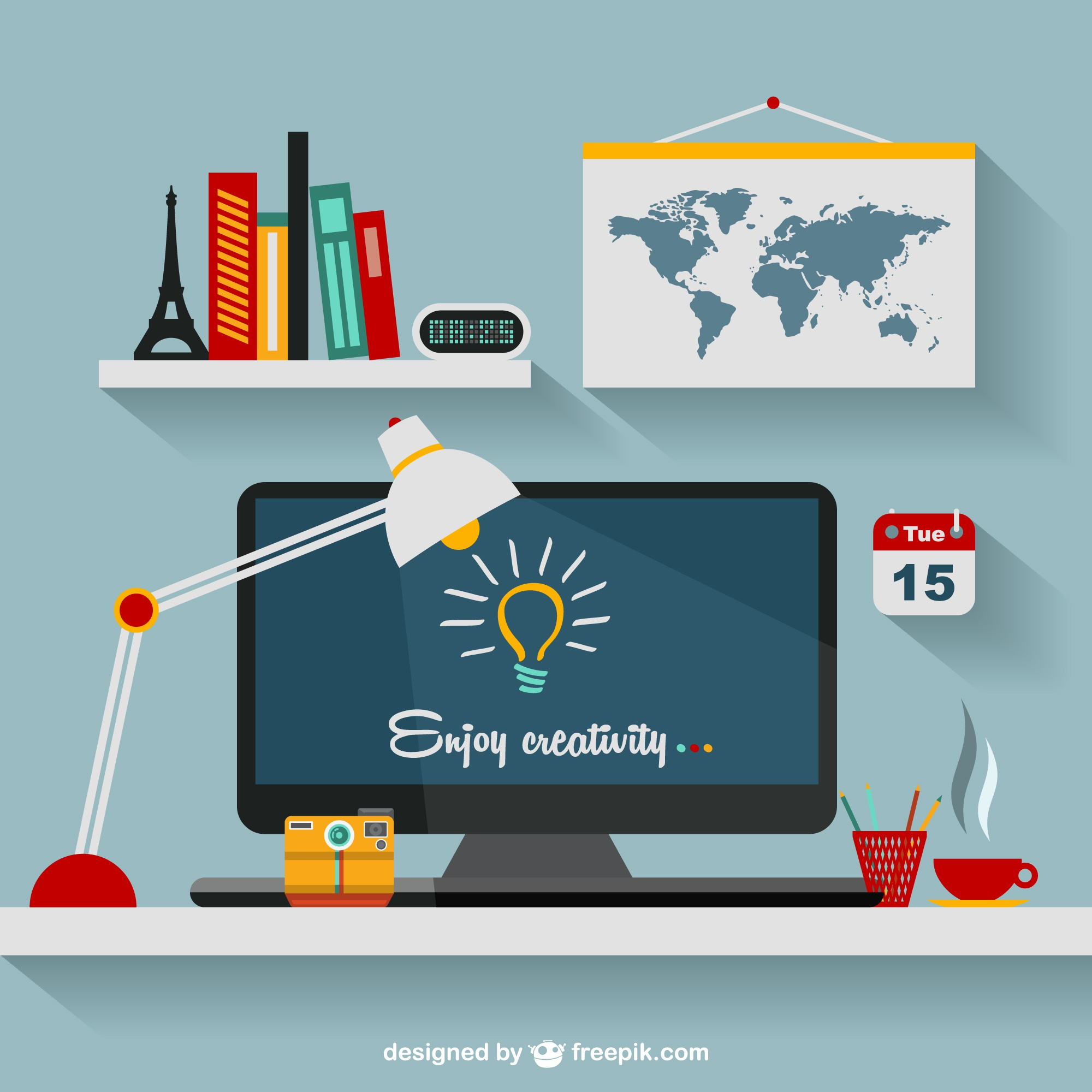 Designer's office flat illustration