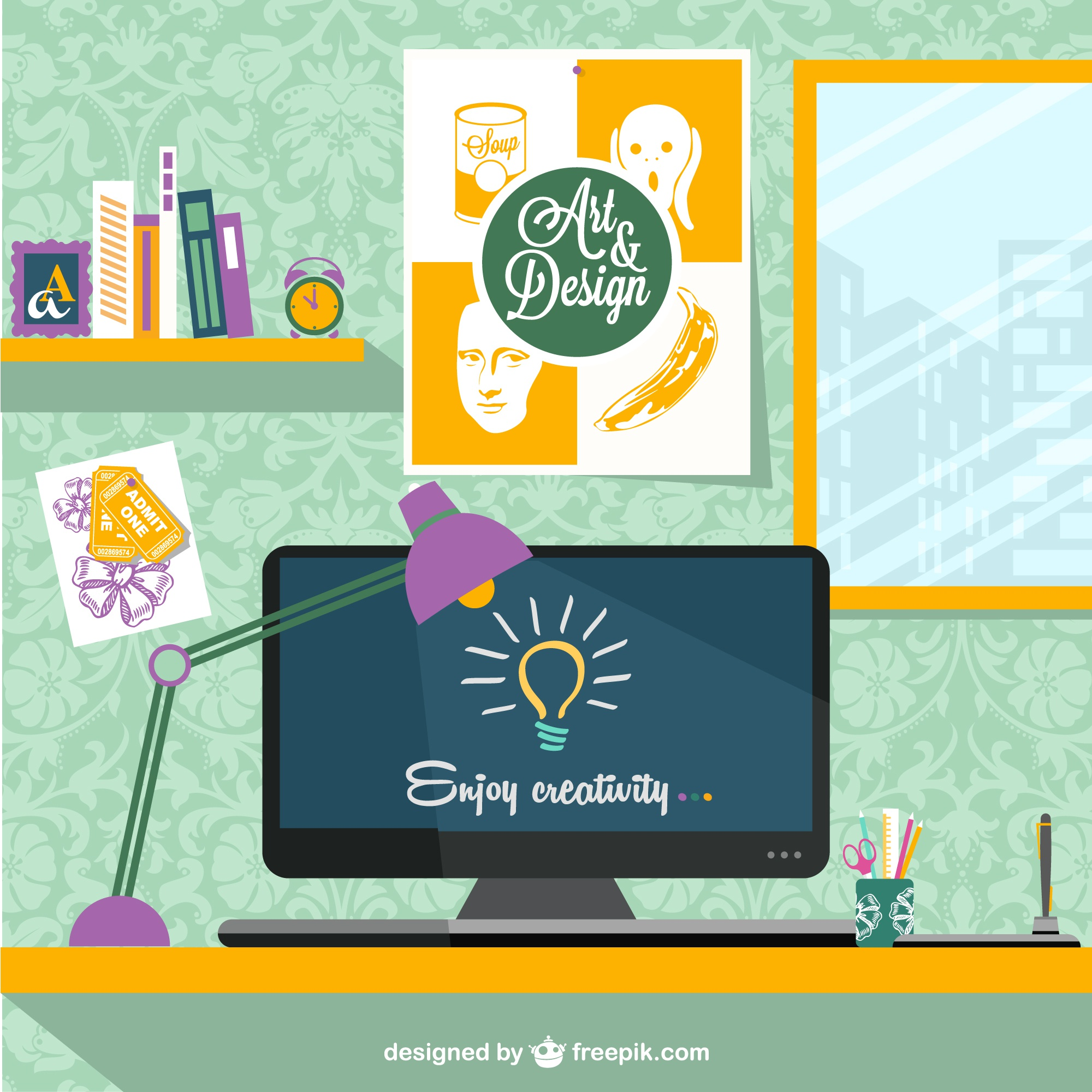 Designer's workplace vector illustration