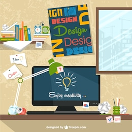 Designer's workspace flat illustration