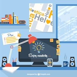 Designer's workspace vector