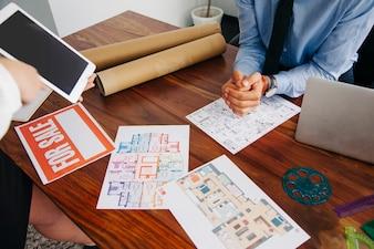Desk of real estate agent