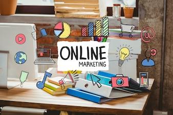 オンラインマーケティングのビジネスコンセプトを備えたデスクオフィス