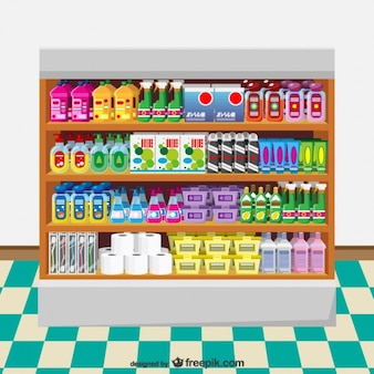 Detergents supermarket vector