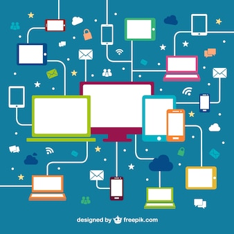 Devices networking free vector
