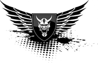 Devil wings shield black icon vector
