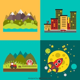 Different landscapes and a rocket
