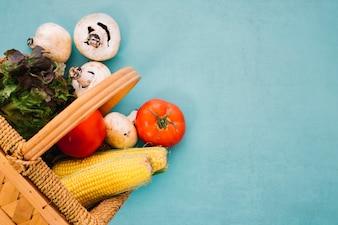 Different vegetables in basket
