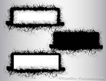 Dirty grunge brushes banners background vector set