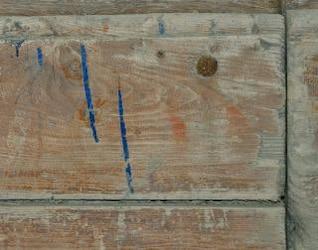 Discoloured wood, door