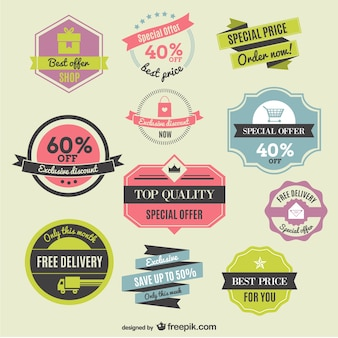 Discounts labels and ribbons
