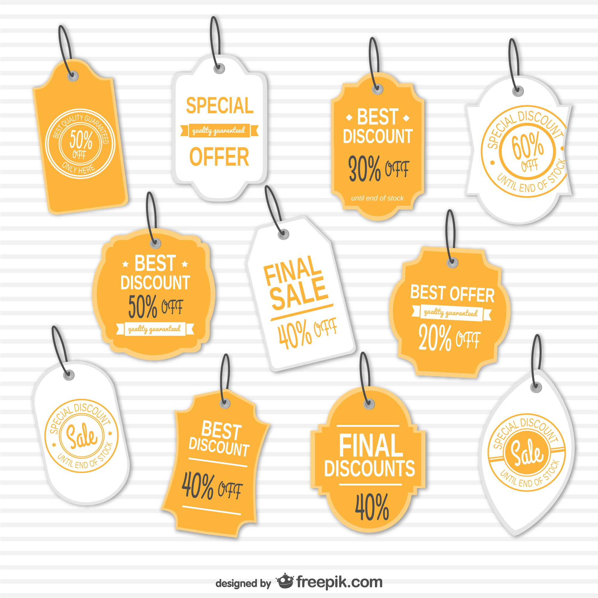 Discounts retro tags set