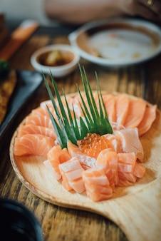 Dish with sliced salmon