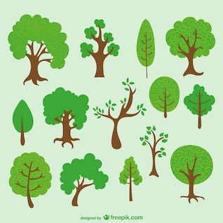 Diverse trees cartoon pack