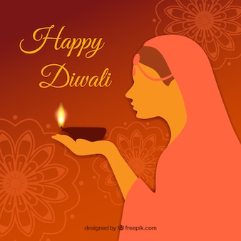 Diwali background with woman