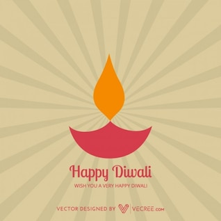 Diwali diya flame greeting card