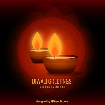 Diwali greeting with two candles