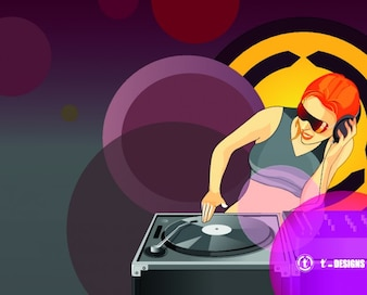 DJ girl playing music vector
