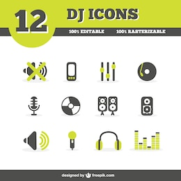DJ icons set
