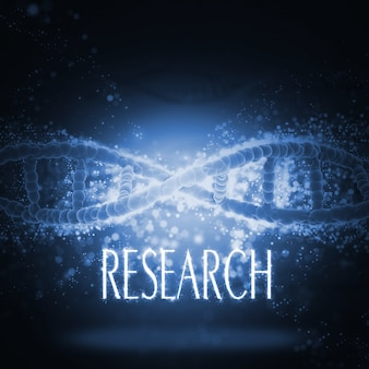 Dna helix with the word  research