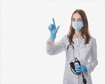 Doctor in gloves tapping air